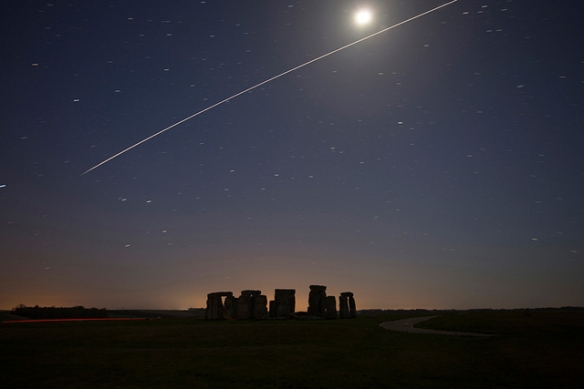 International Space Station pass over Stonehenge, Wiltshire UK, April 20, 2013. Credit and copyright: Tim Burgess. This screengrab made and used entirely without permission.